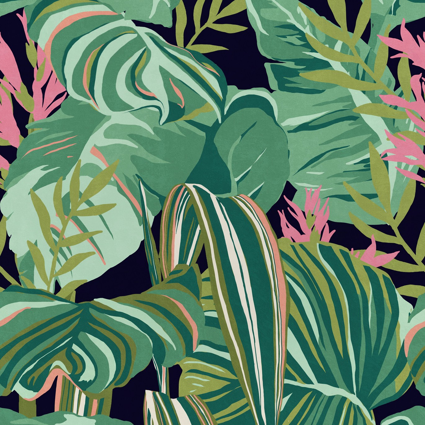 Tropical Foliage Wallpaper Anthracite