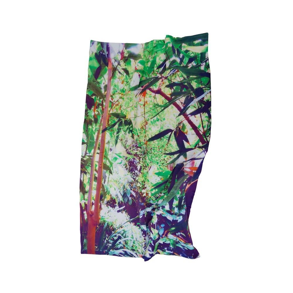 Tropical Multi Leaf Print Satin Bed Throw