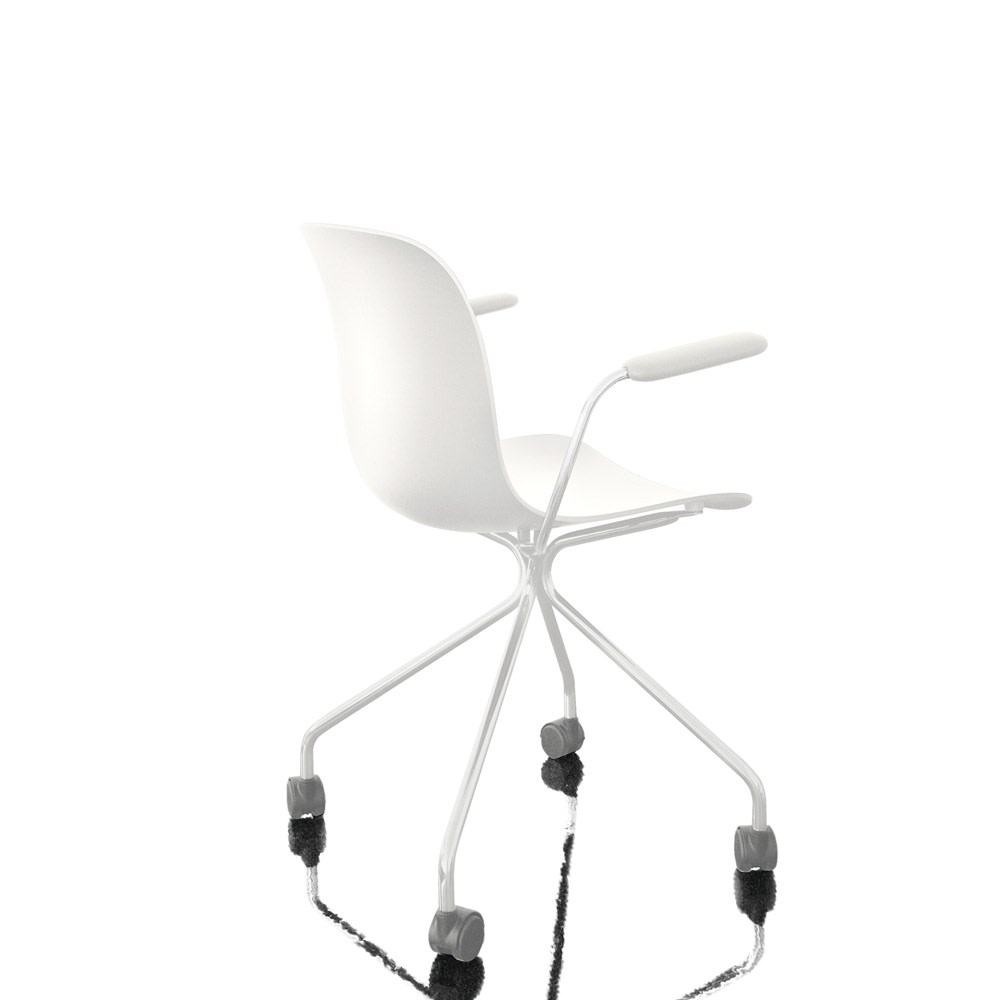 Troy Chair with arms - 4 Star Base on Wheels White Frame and Seat