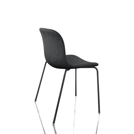 Troy Stacking Chair - 4 Legs, Fully Covered - Set of 2 Divina Melange 2 180 Fabric and Black Base