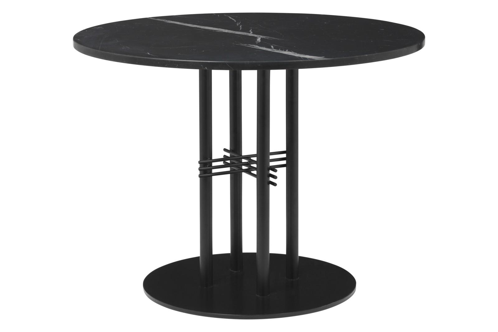 TS Column Lounge Table Gubi Marble Nero Marquina, Gubi Metal Black, Ø 80