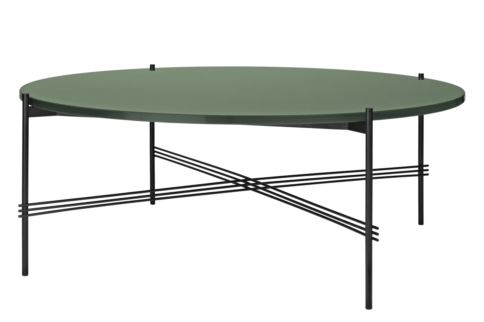 TS Round Coffee Table with Glass Top - Black Frame Gubi Glass Dusty Green, Ø 105 x H 40 cm