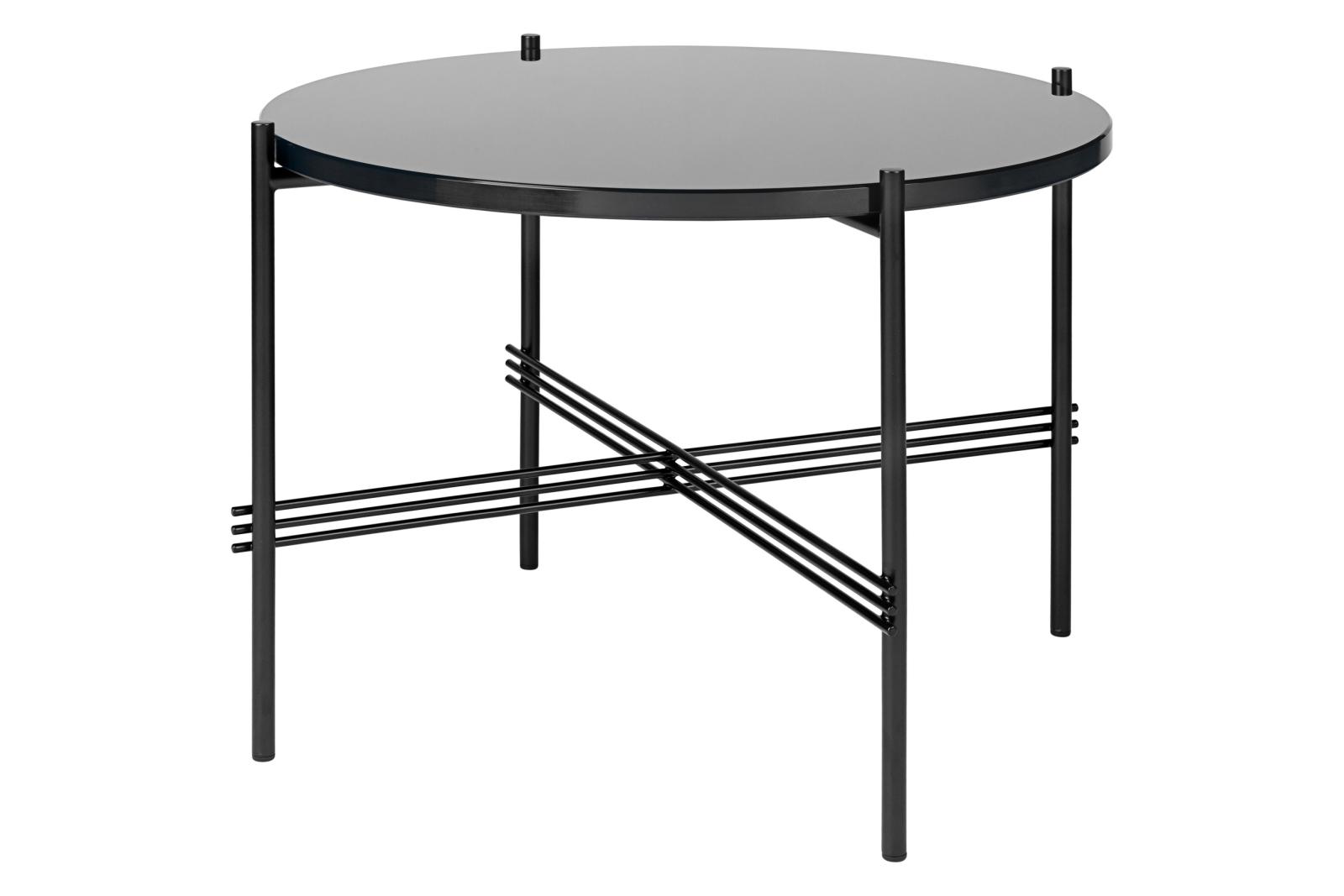 TS Round Coffee Table with Glass Top - Black Frame Gubi Glass Graphite Black, Ø 55 x H 41 cm