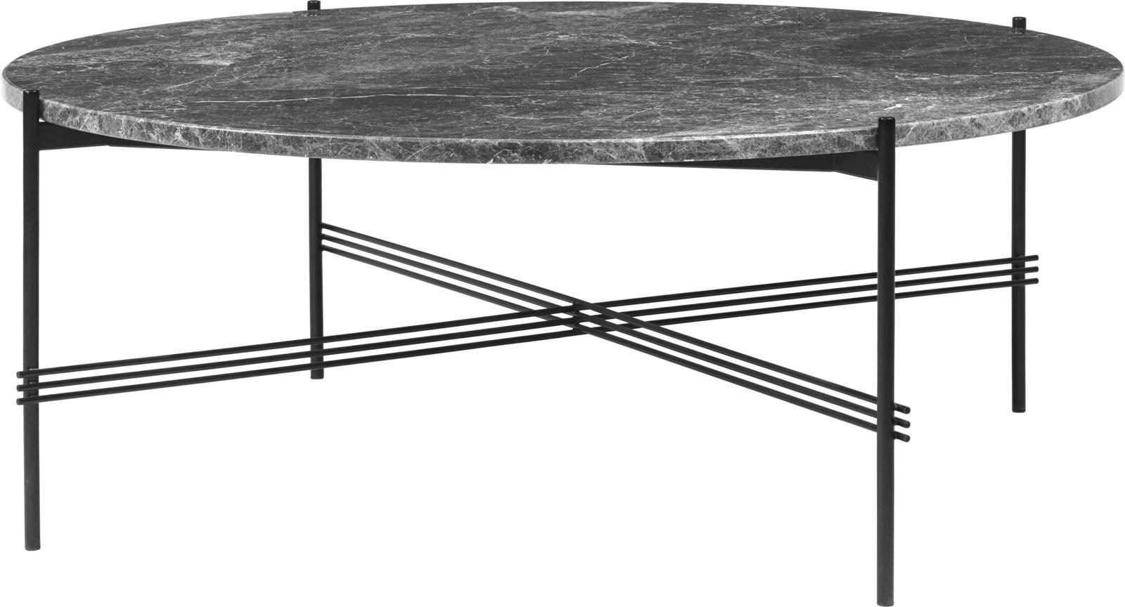 TS Round Coffee Table with Marble Top Gubi Marble Grey Emperador, Gubi Metal Black Matt, Ø 105 x H