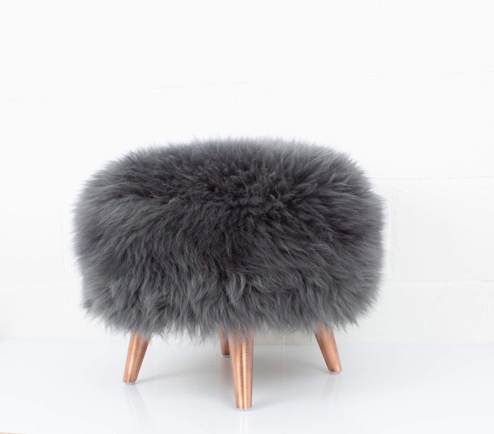 Sheepskin Tuffet - Copper Slate Grey