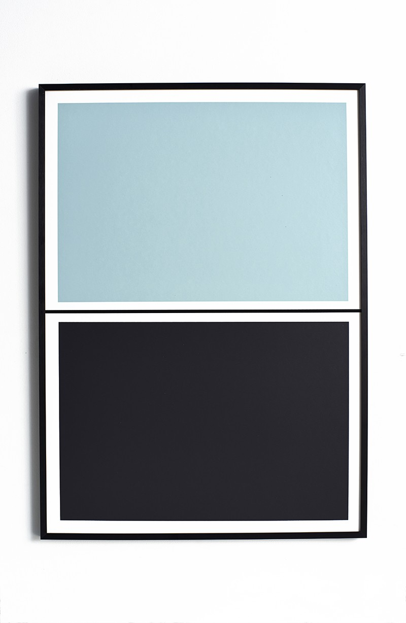 Twin Tone Play Screen Print - Feather Blue & Soot Black Without Frame