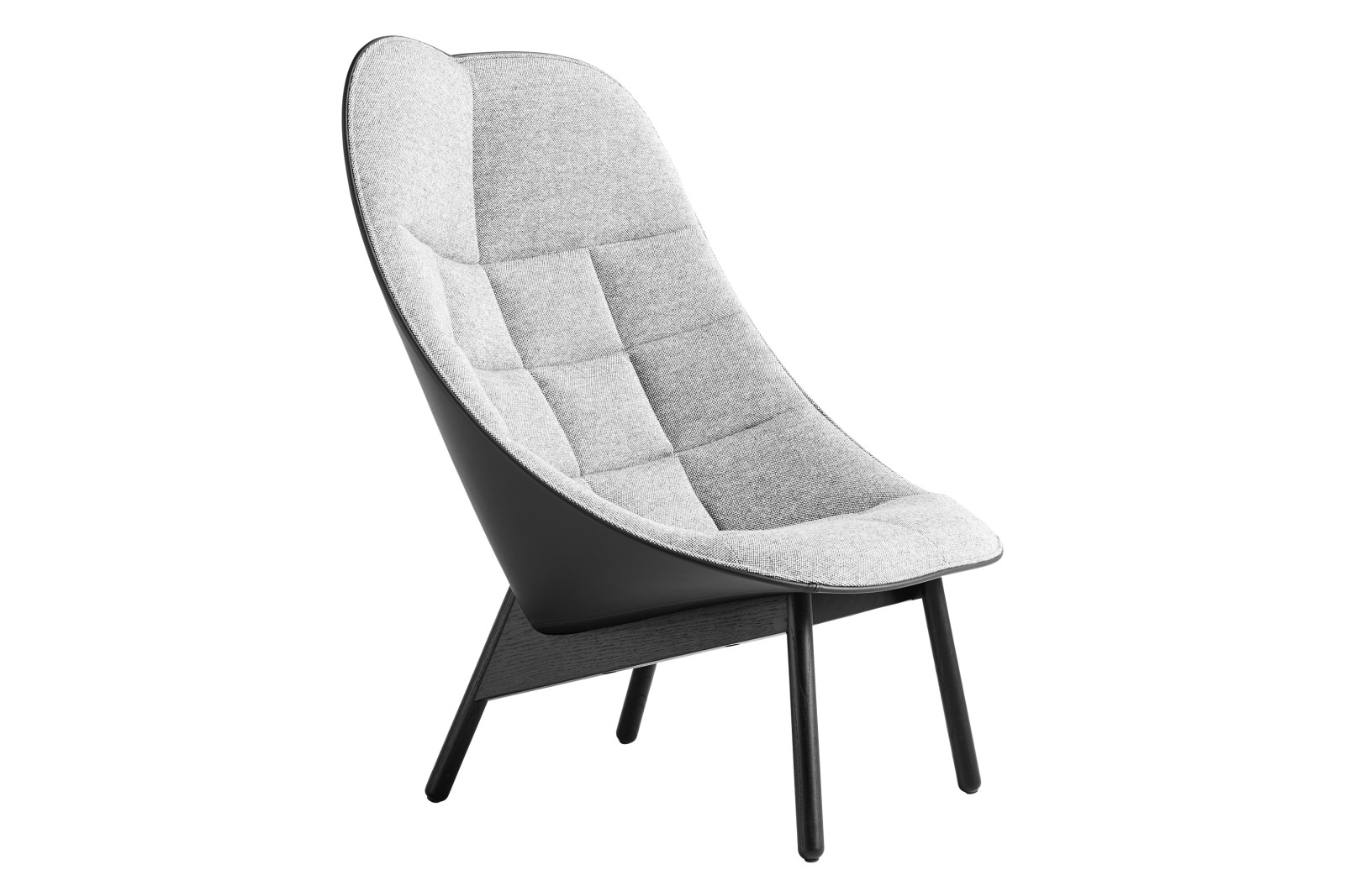 Uchiwa Quilt Lounge Chair Front uph. Fabric Group 4, Back uph. Fabric Group 5, Wood Black Oak