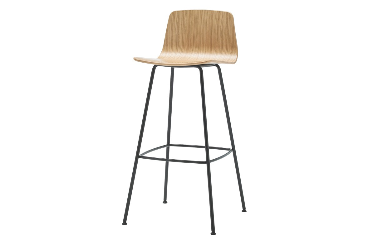 Varya Wood Barstool 4 Legs Base - Set of 2 Colour B00-Black, Oak Veneer Natural, 101