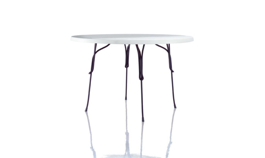 Vigna Table - Round Purple Violet Frame, White Top, Ø120cm