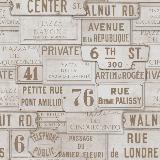 Vintage Signs Taupe Wallpaper