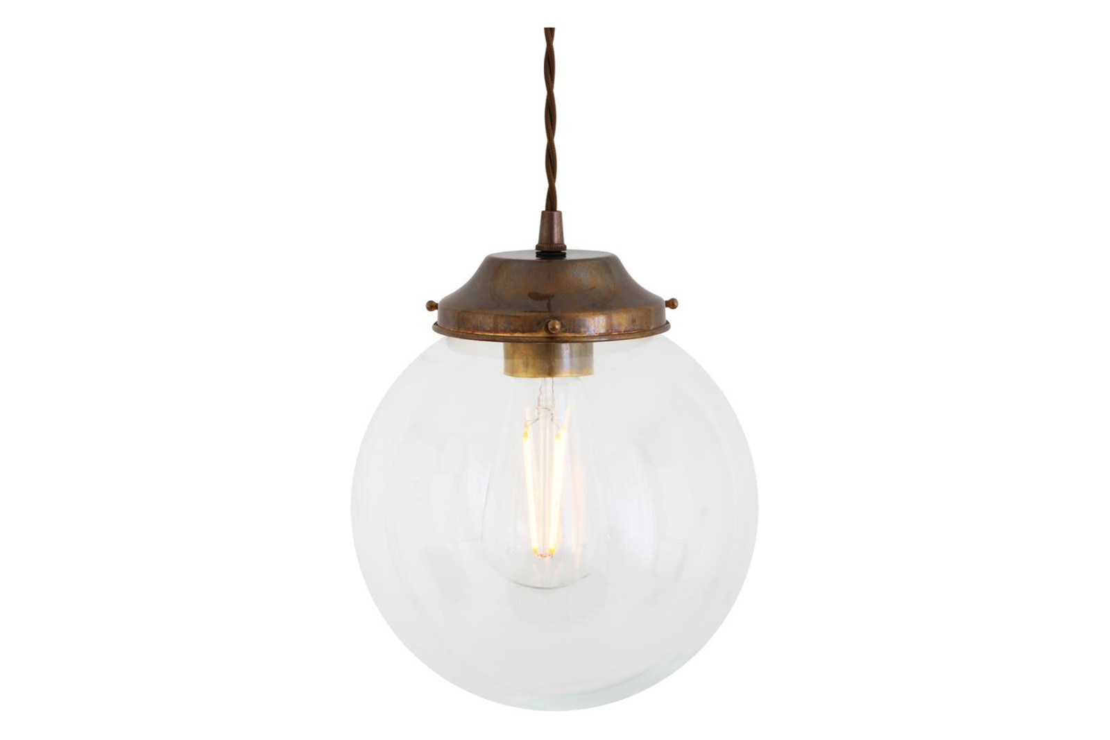 Virginia Clear Globe Pendant Light Antique Brass, 20cm