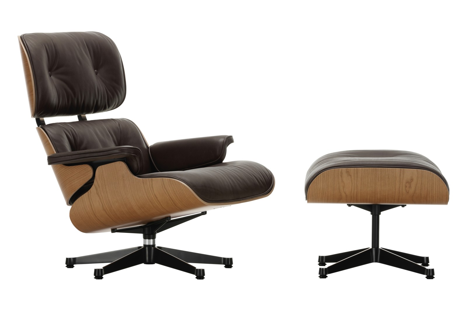 Vitra Eames Lounge Chair & Ottoman - American Cherry Shell Leather Premium 68 chocolate, 03/12 Alumi