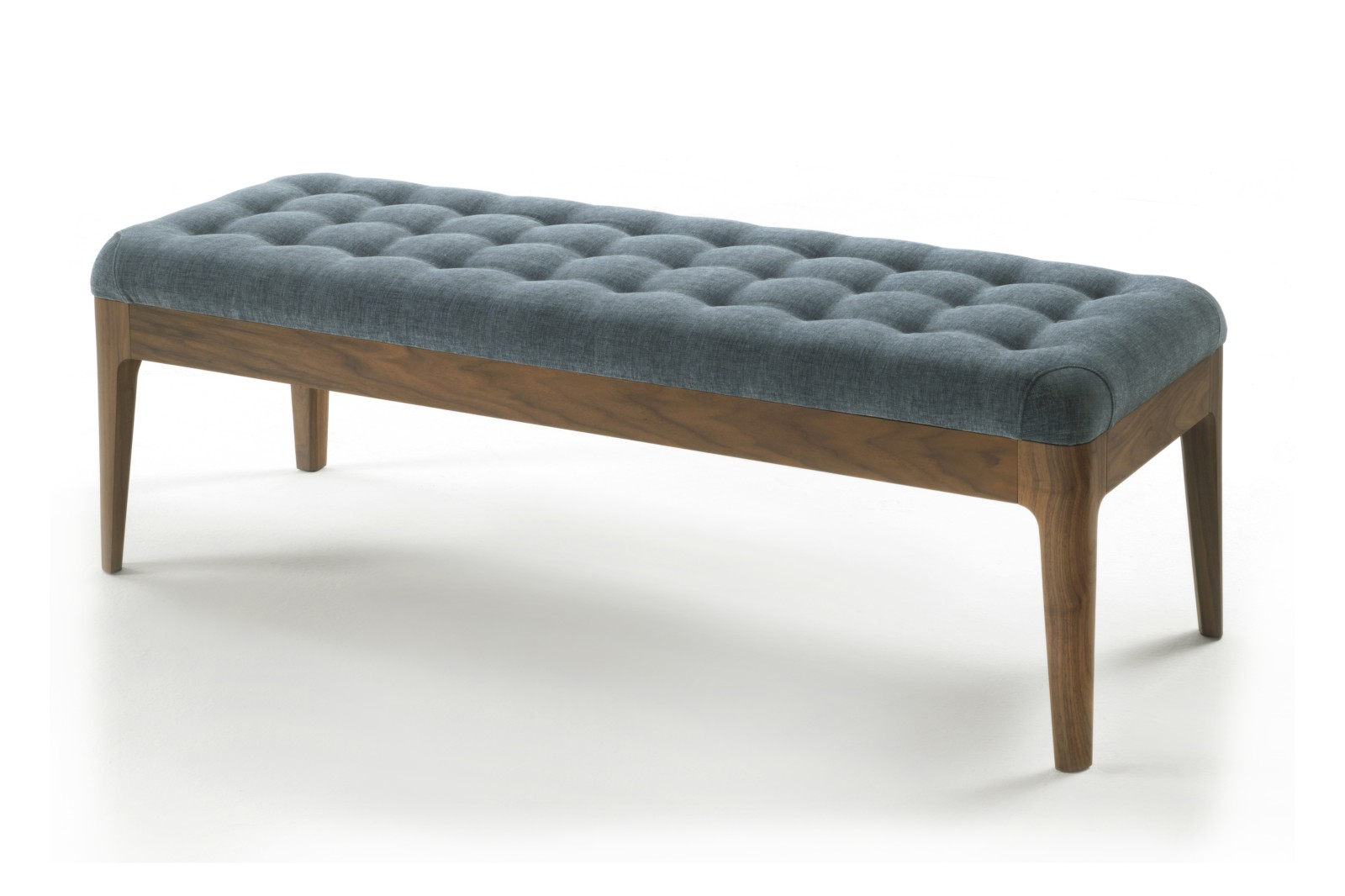 Webby Bench, Upholstered Canaletta Walnut Moka Stained, Wool 09
