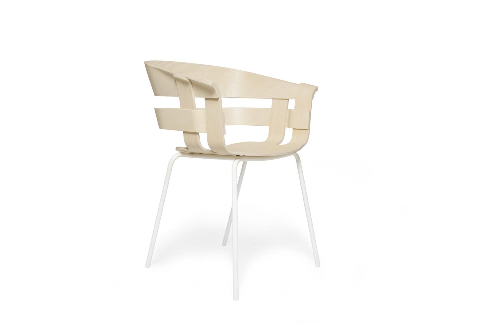 Wick Chair - Metal Legs Ash seat, white legs