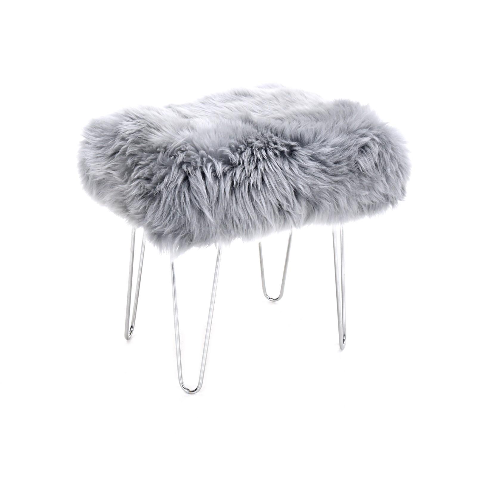 Zahra - Sheepskin Footstool Silver