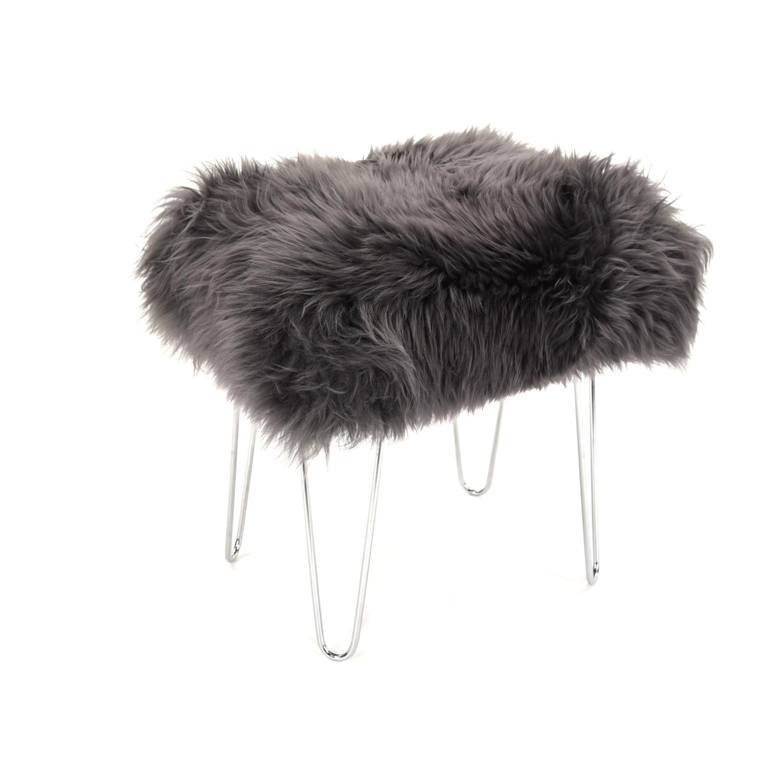 Zahra - Sheepskin Footstool Slate Grey