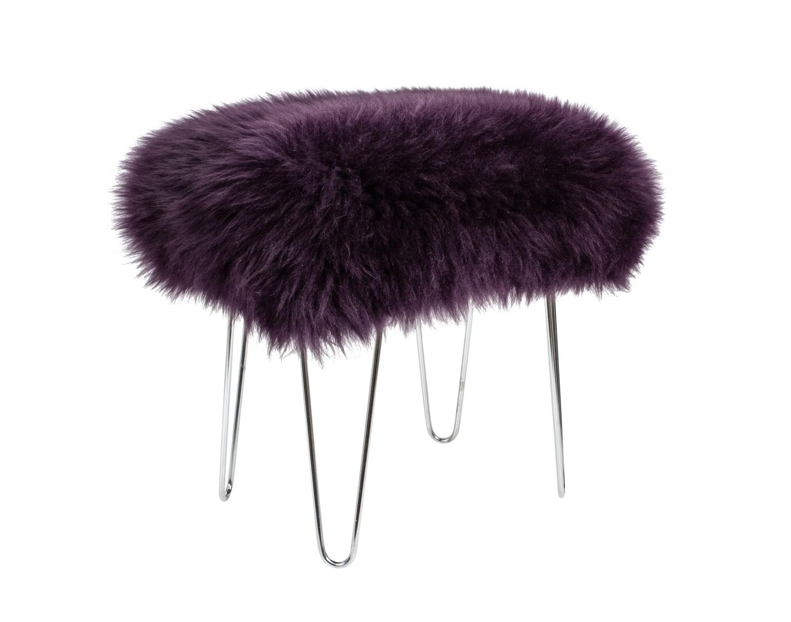 Zahra - Sheepskin Footstool Aubergine