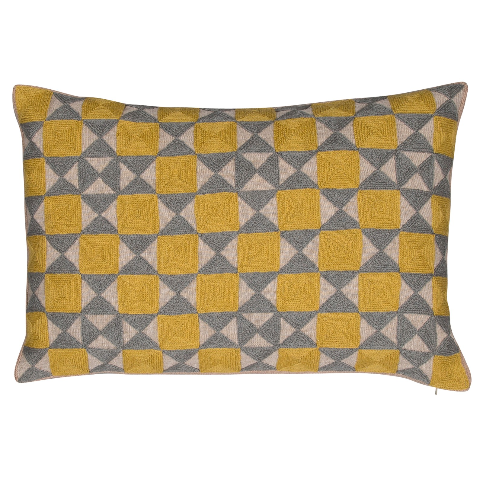 Zellij Cushion Ash Grey & Chartreuse