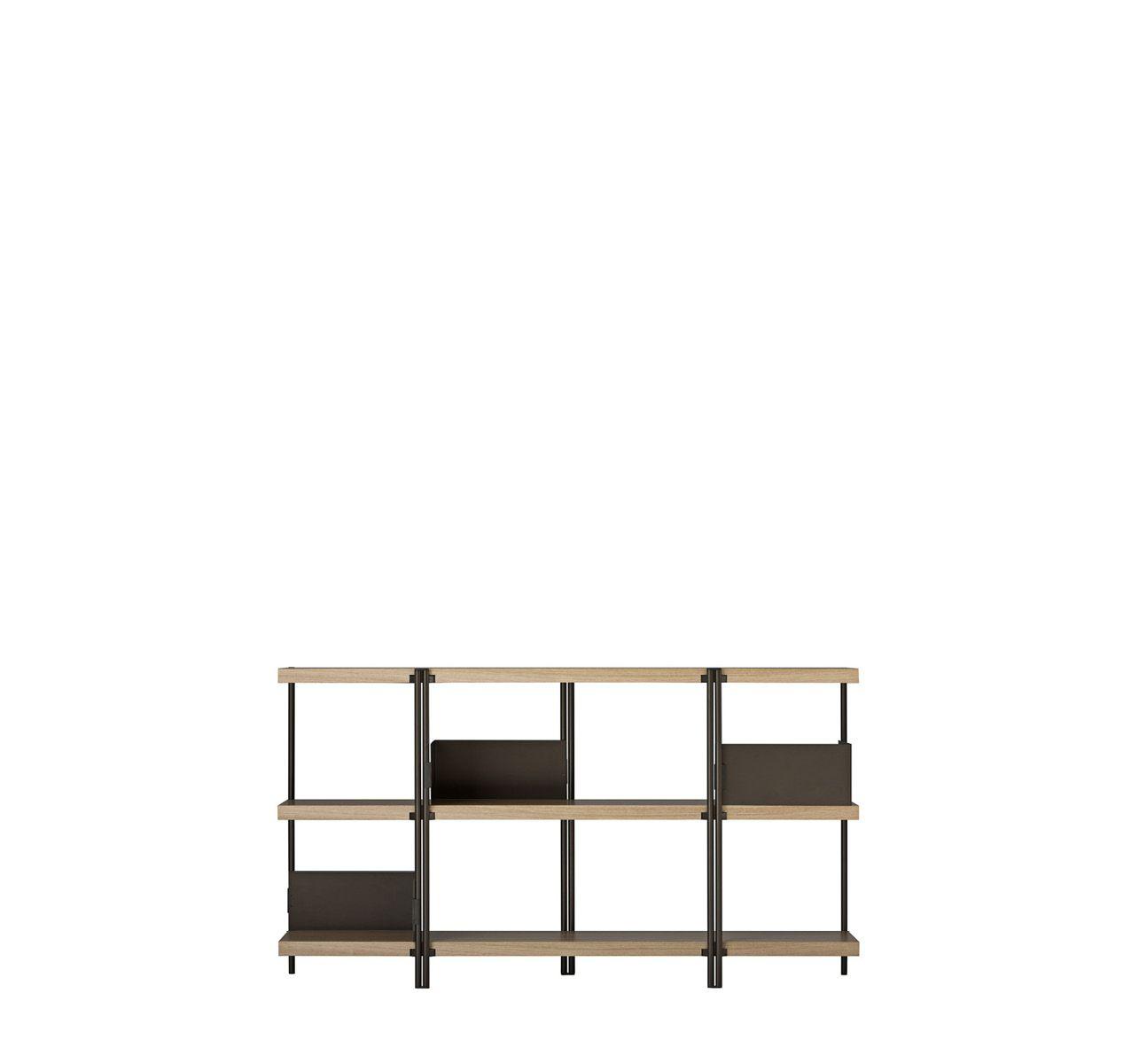 Zigzag Low Bookcase Bronze with Veneered Oak Shelves