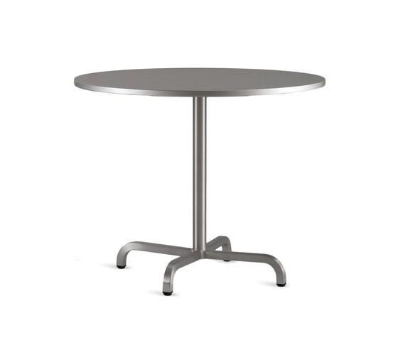 20-06 Round cafe table Laminate Top, Matte Aluminium Edge, 76 x 76 cm