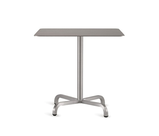 20-06 Square cafe table 60 x 60 x 76 cm Laminate top, Matte aluminium edge