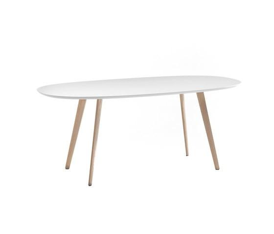 Gher h74 Oval top by Arper L0020 Legs, MDF MD cm 200x110 White Top