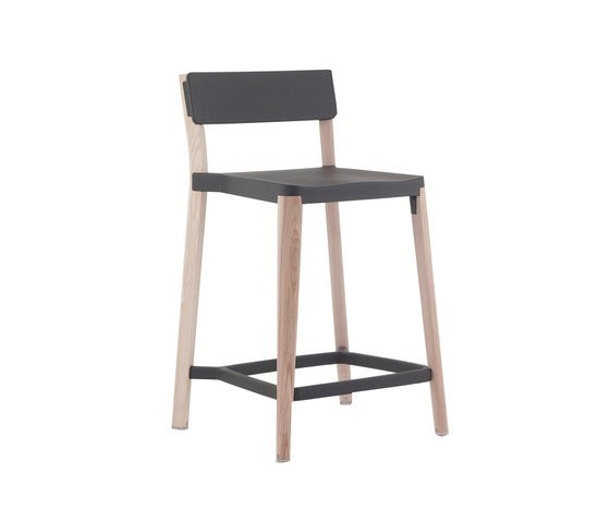Lancaster Counter Stool Dark Grey, Light Wood Base, Without Seat Pad, Without Back Pad