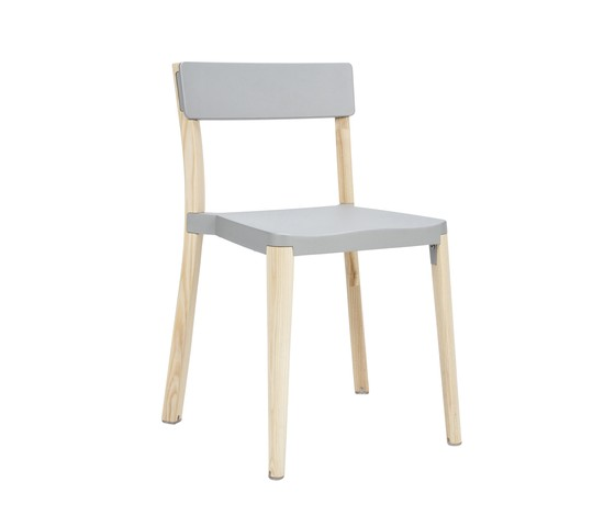 Lancaster Stacking Chair Light Grey, Light Wood Base, Without Seat Pad, Without Back Pad