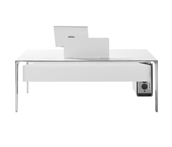 Nuur Office by Arper Aluminium Polished Base, 180x79cm White Top
