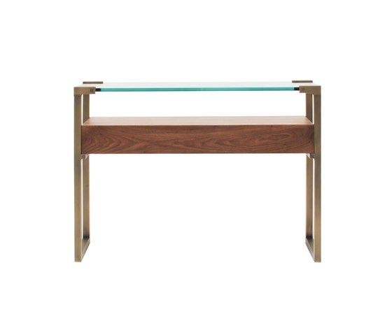 Pioneer T53L Console table with Walnut Wood Brass Patinated Frame thumbnail