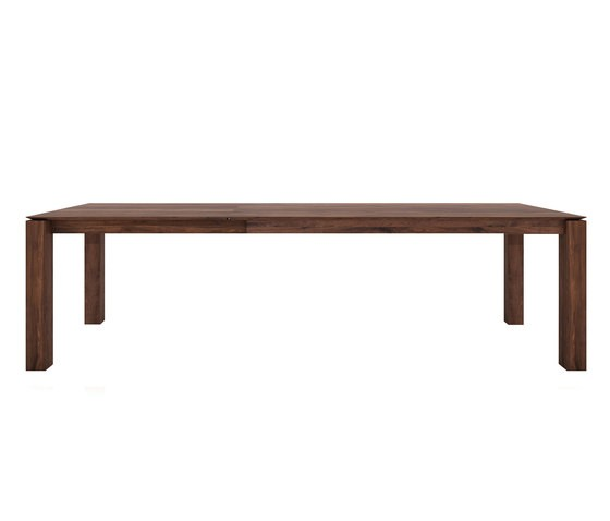 Walnut slice extendable dining table