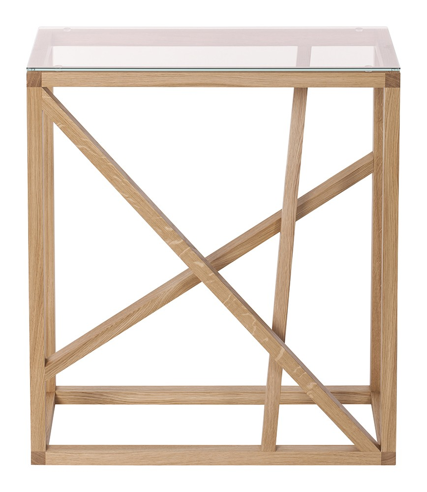 1x1 trestle console table Amber glass