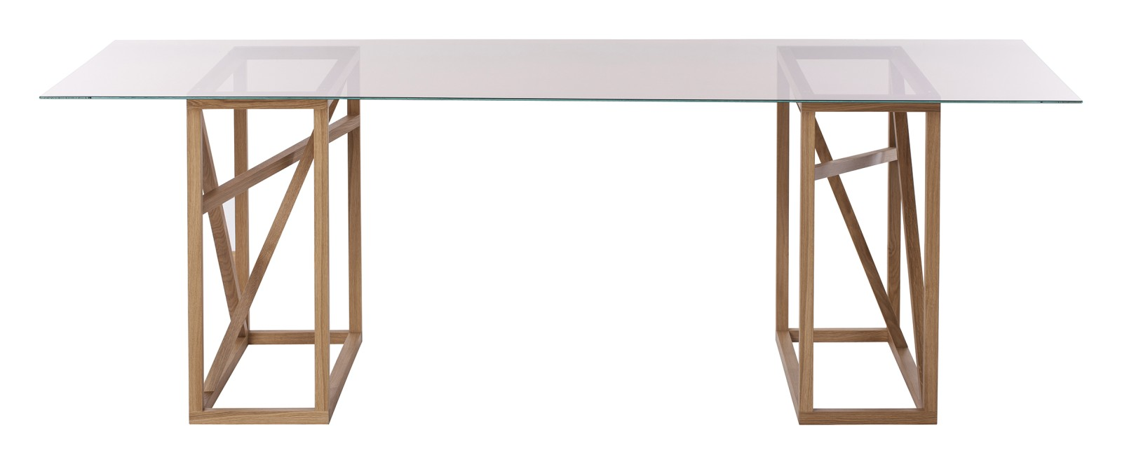 1x1 Trestle - Dining Table Amber Glass Top