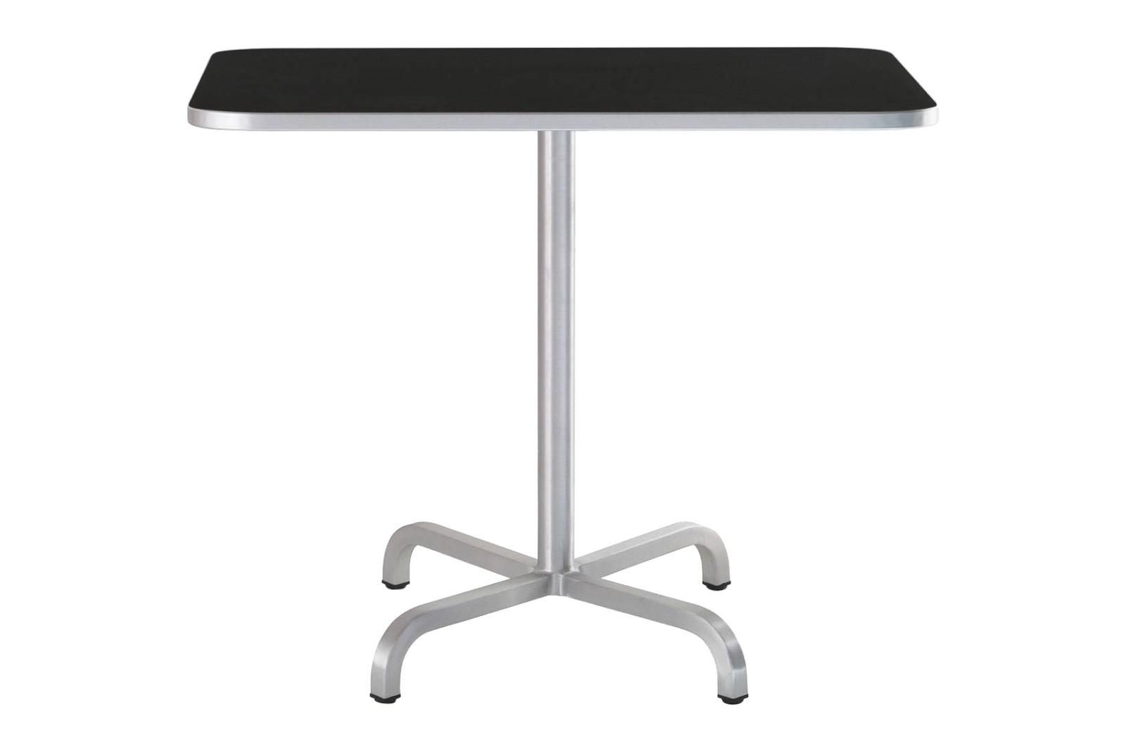 20-06 Café Table Square Black Laminate Top, Matt Aluminium Edge, 76 x 91 x 91 cm