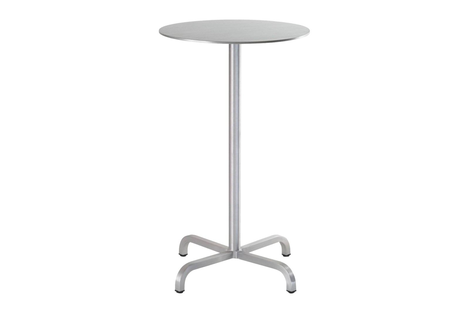 20-06 Round Bar-Height Table Brushed Aluminium, Top Matt Aluminium Edge, 106 x 60 x 60 cm