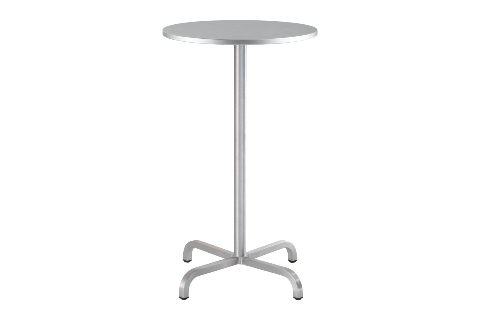 20-06 Round Bar-Height Table Grey Laminate Top, Matt Aluminium Edge, 106 x 60 x 60 cm