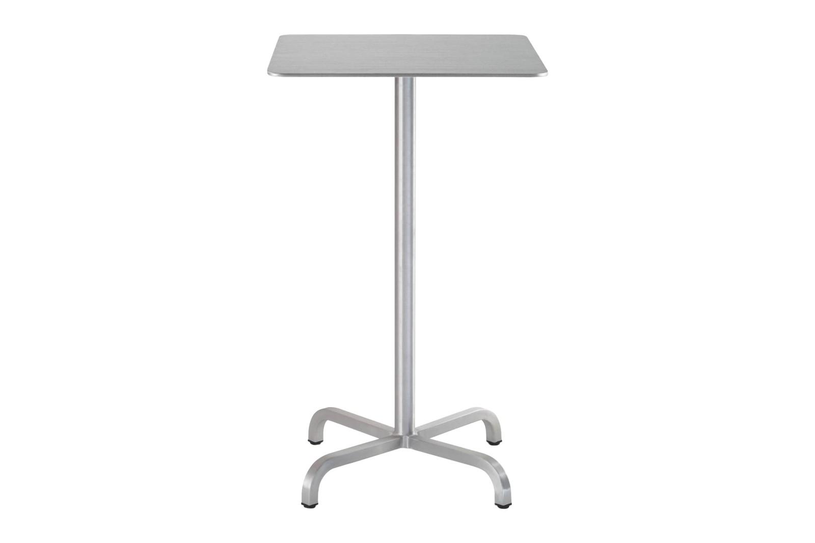 20-06 Square Bar-Height Table Brushed Aluminium, Top Matt Aluminium Edge, 106 x 60 x 60 cm