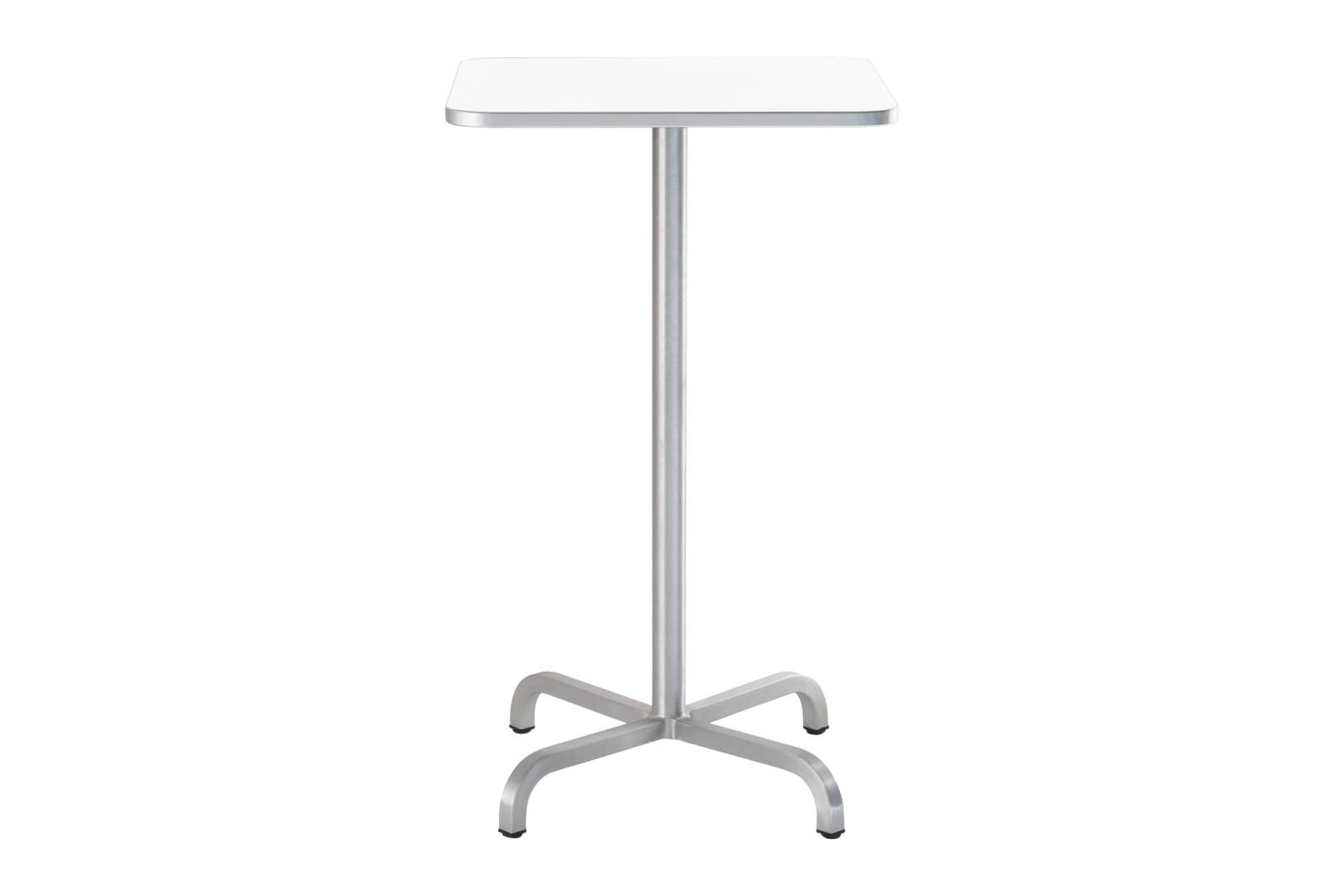 20-06 Square Bar-Height Table White Laminate Top, Matt Aluminium Edge, 106 x 60 x 60 cm