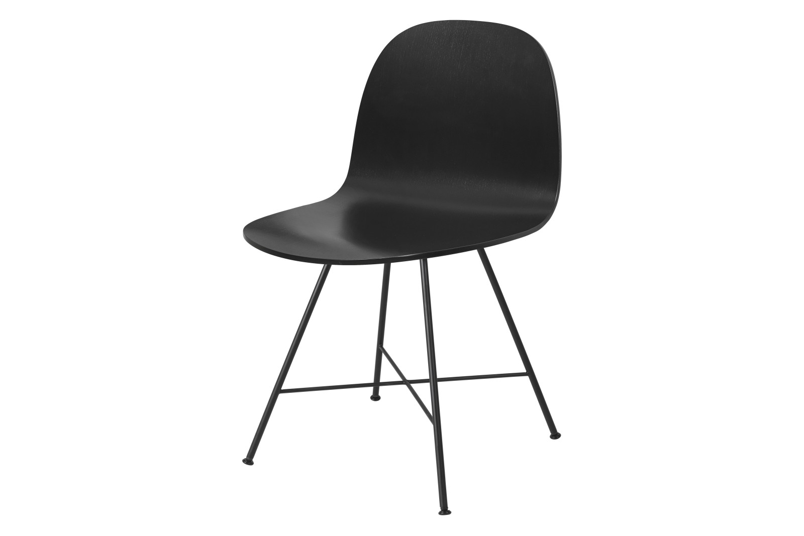2D Centre-base Dining Chair - Unupholstered Gubi Wood Black Stained Birch