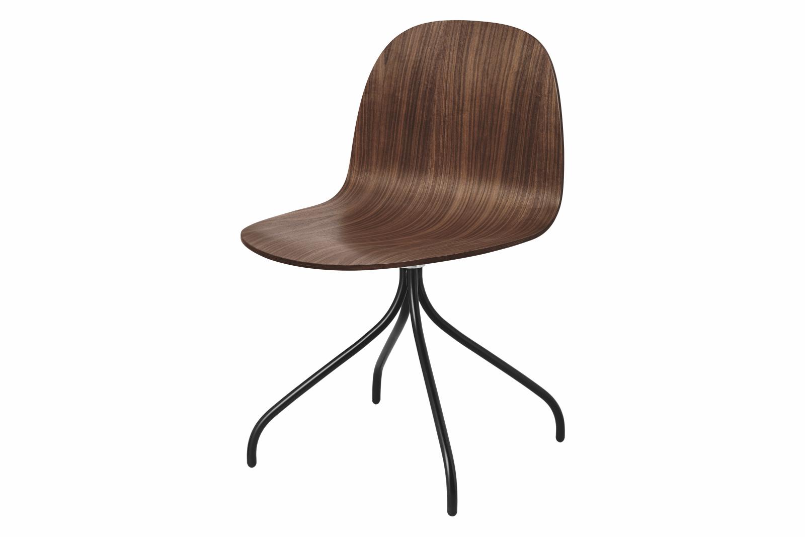 2D Swivel-base Dining Chair Unupholstered Gubi Wood American Walnut, Gubi Metal Black