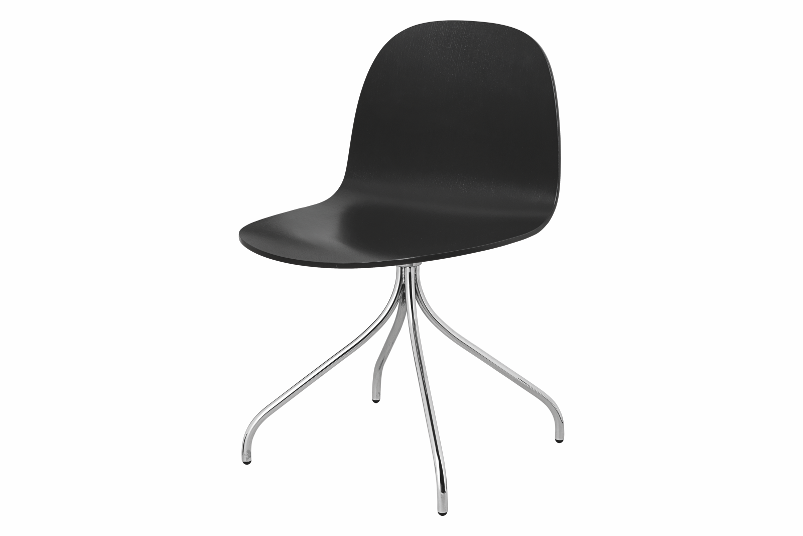 2D Swivel-base Dining Chair Unupholstered Gubi Wood Black Stained Birch, Gubi Metal Chrome