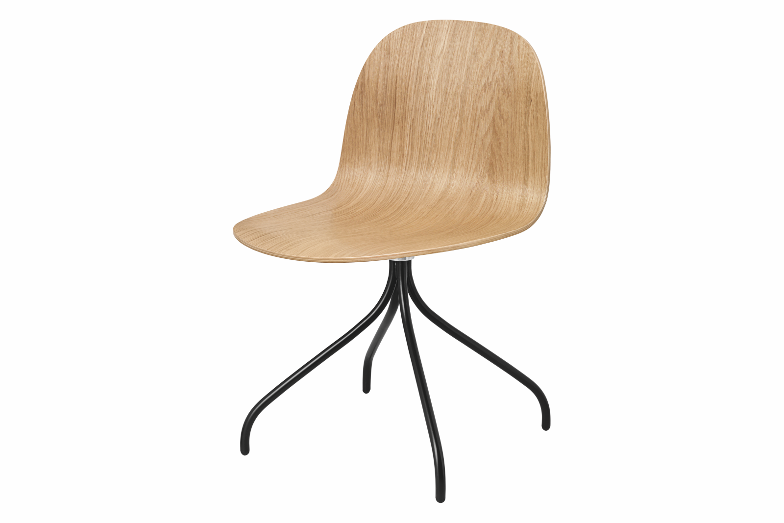 2D Swivel-base Dining Chair Unupholstered Gubi Wood Oak, Gubi Metal Black