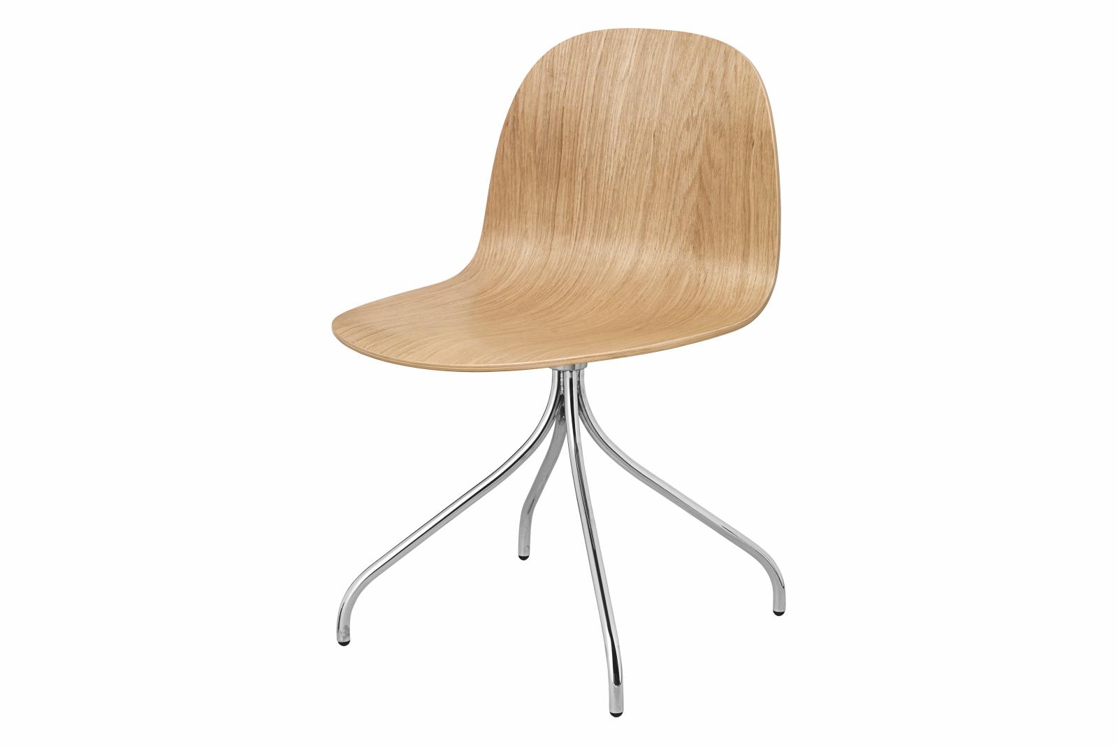 2D Swivel-base Dining Chair Unupholstered Gubi Wood Oak, Gubi Metal Chrome