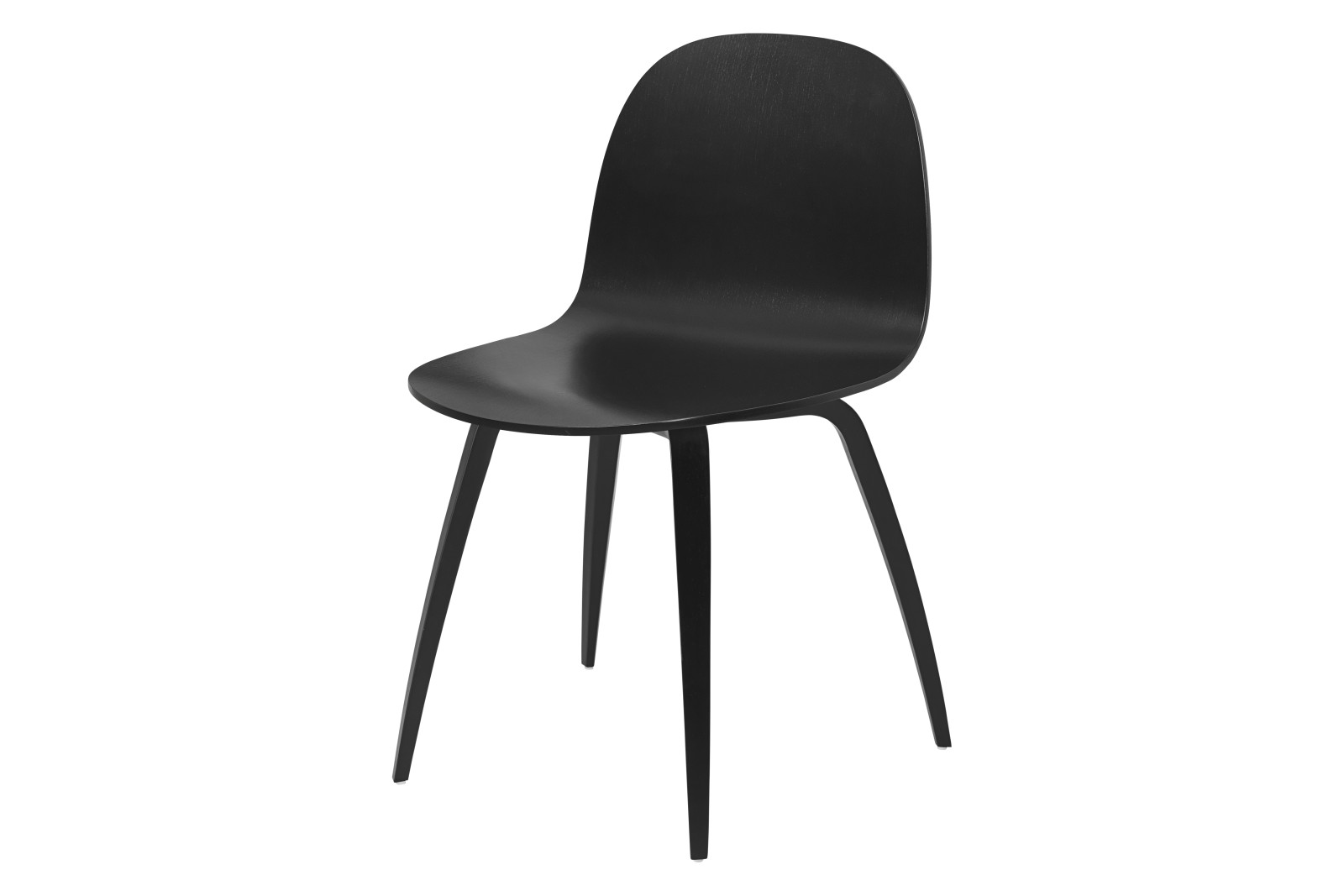 2D Wood-base Dining Chair Gubi Wood Black Stained Birch
