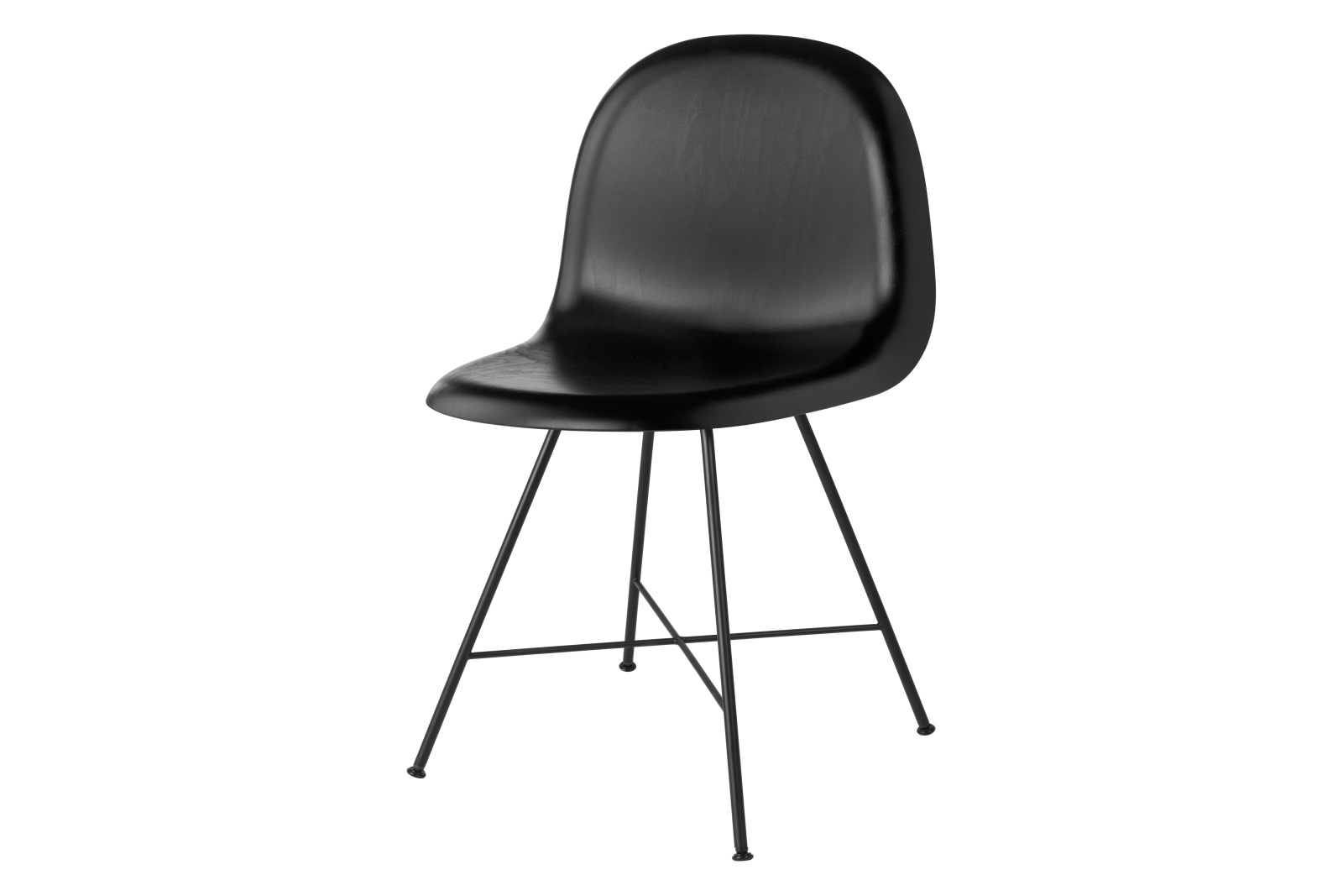 Gubi 3D Dining Chair Center Base - Unupholstered Gubi Wood Black Stained Beech
