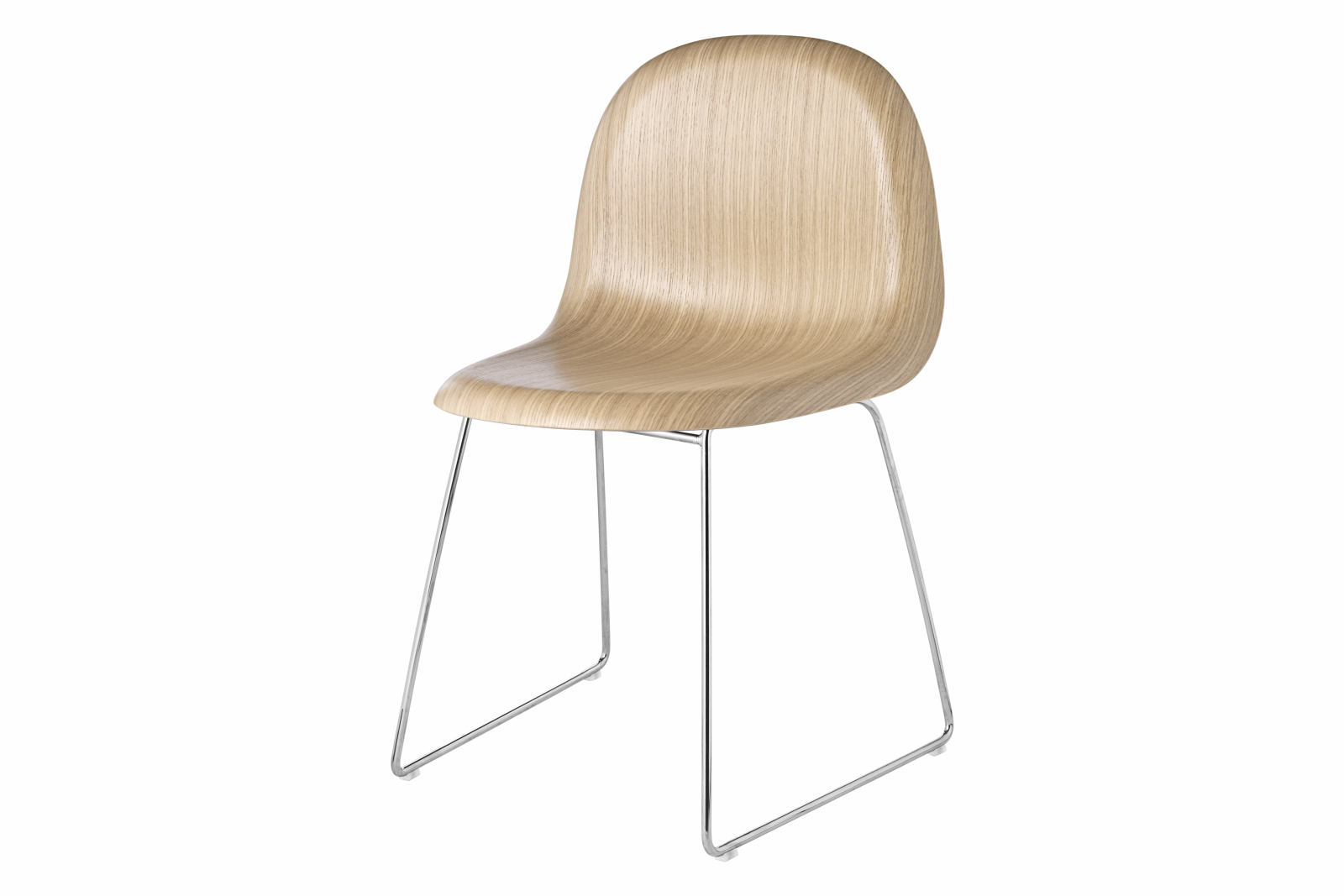 Gubi 3D Dining Chair Sledge Base - Unupholstered Gubi Wood Oak, Gubi Metal Chrome