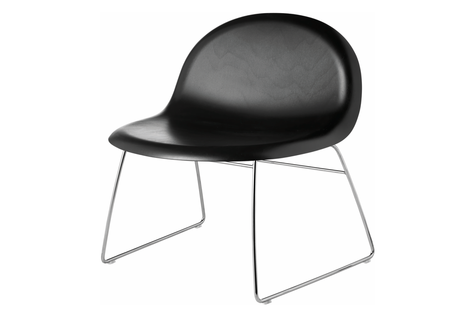 Gubi 3D Lounge Chair Sledge Base - Unupholstered Gubi Wood Black Stained Beech, Gubi Metal Chrome