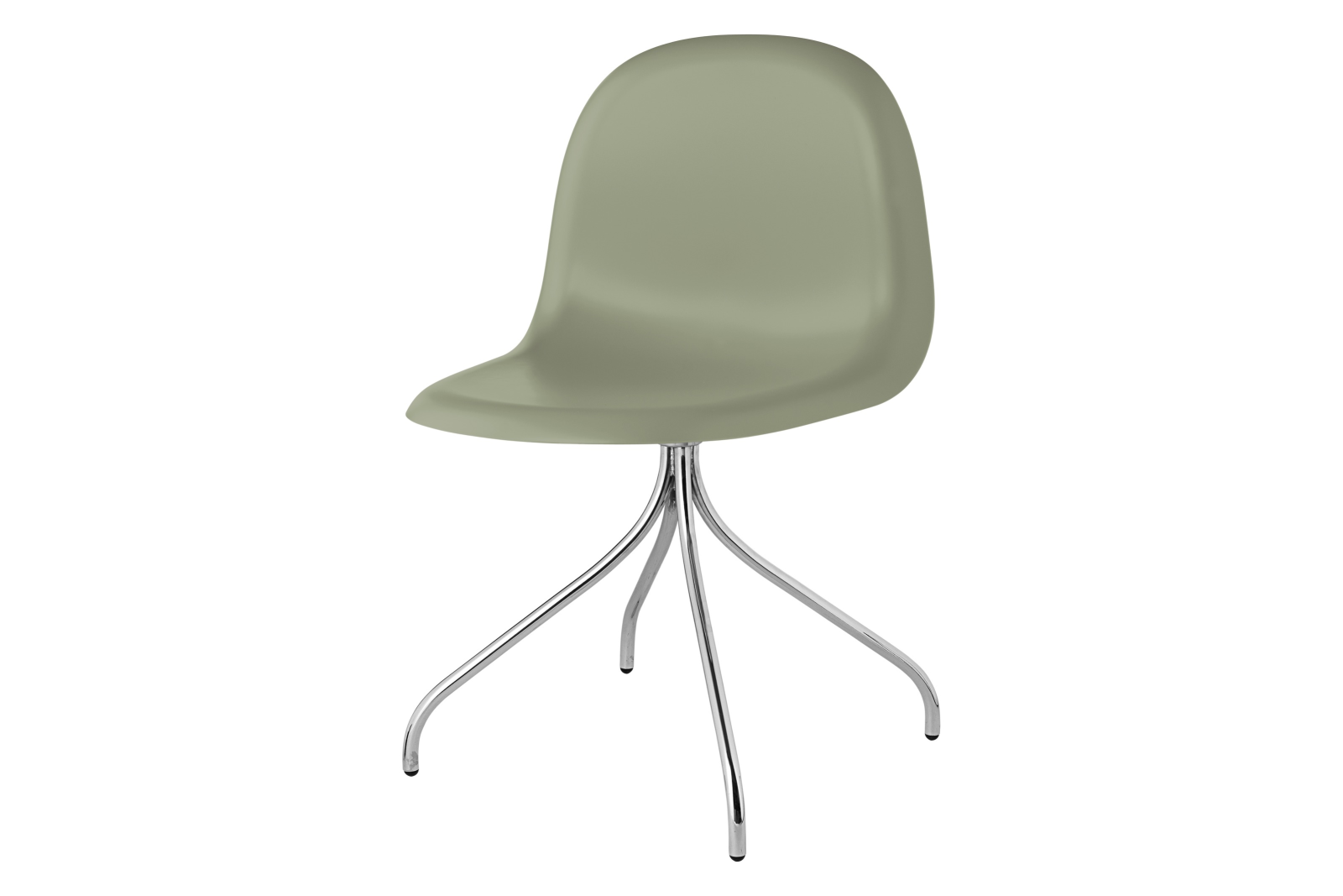 Gubi 3D Swivel Base Dining Chair - Unupholstered Gubi HiRek Mistletoe, Gubi Metal Chrome