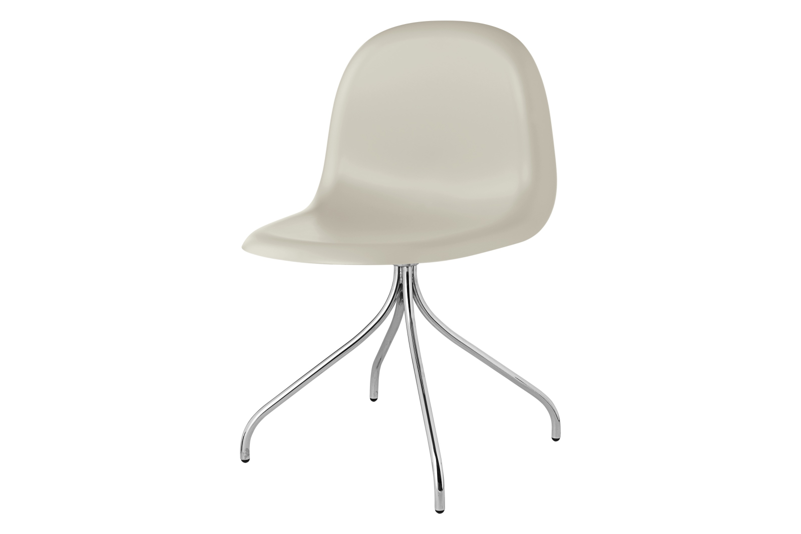 Gubi 3D Swivel Base Dining Chair - Unupholstered Gubi HiRek Moon Grey, Gubi Metal Chrome