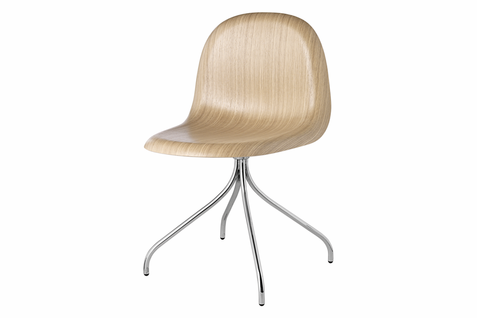 Gubi 3D Swivel Base Dining Chair - Unupholstered Gubi Wood Oak, Gubi Metal Chrome